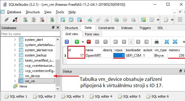 Připojená databáze zálohy konfigurace