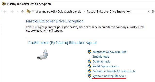Vypnutí BitLockeru