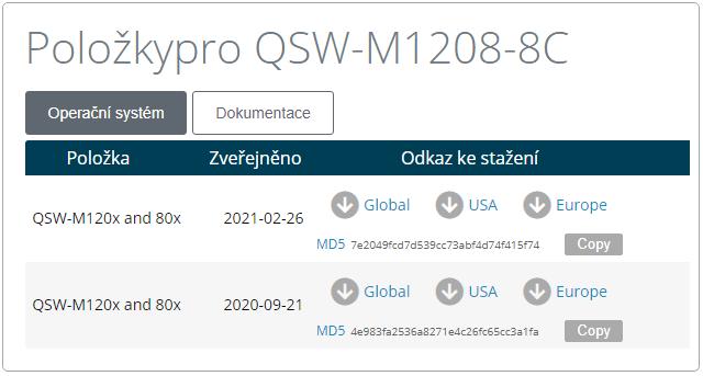 QNAP QSW-M1208-8C - aktualizace