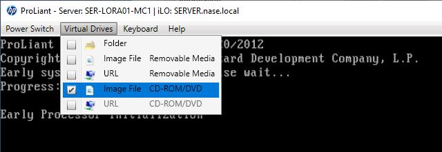 Připojení CD do serveru ve formě ISO image