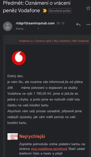 Na české zákazníky Vodafonu před Vánoci útočí podvodníci
