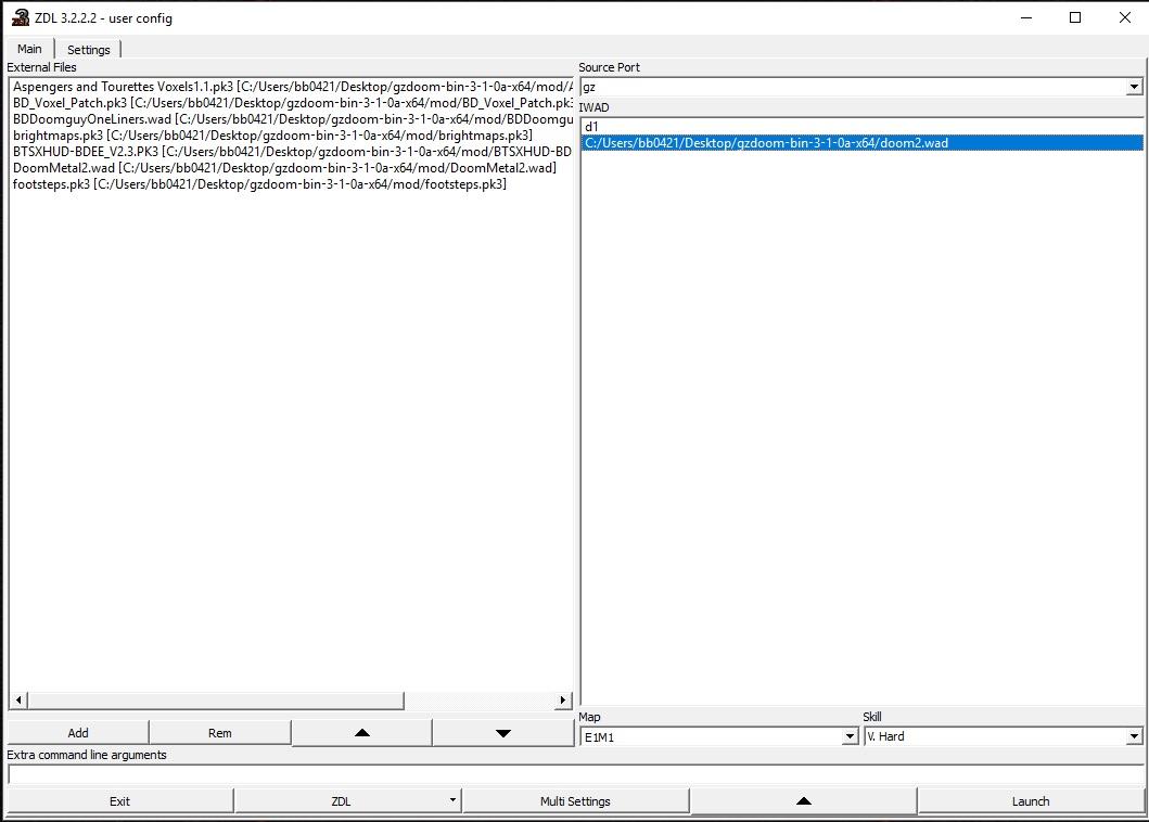 Takto vypadá ZDL Launcher. Vlevo použité mody, vpravo přidán WAD z Doomu 2.