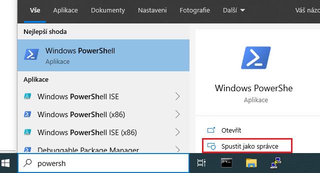 Spuštění PowerShell