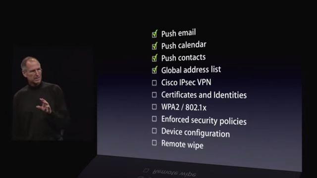 Steve Jobs při představení iPhone3G a MobileMe, 2008, zdroj: Youtube