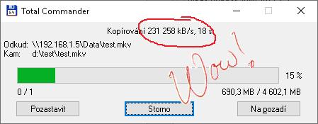 Slušná rychlost kopírování po síti