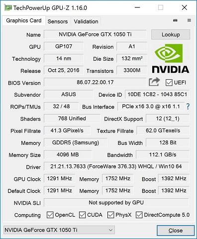 ASUS EX-GTX1050Ti-4G GPU-z