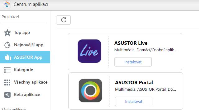 Instalace ASUStor portal