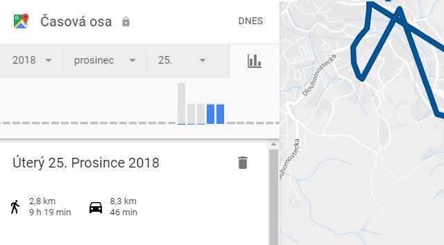 Google Mapy: Nabídka->Časová osa a prohlížení tras