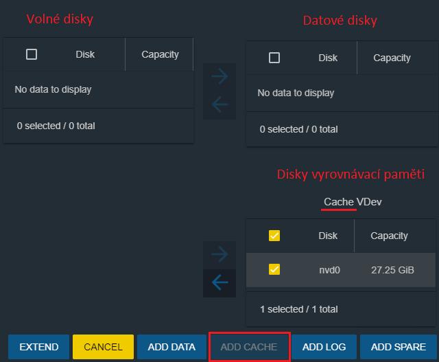 Přidání paměti cache k diskovému Poolu