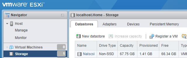 Nové datové úložiště připojené přes iSCSI