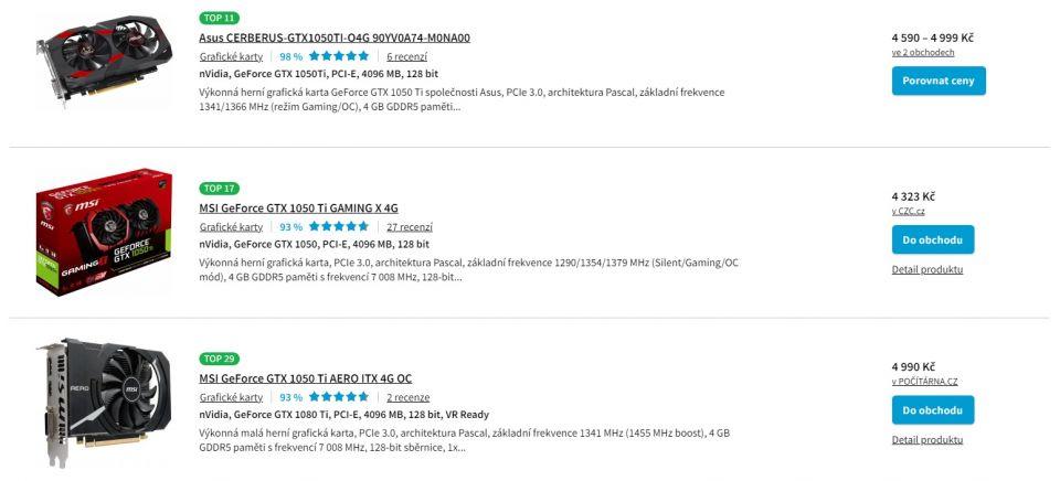 Nvidia začala znovu nabízet stařičkou GeForce GTX 1050 Ti