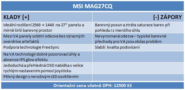 MSI Optix MAG27CQ: výhodné herní VA LCD s FreeSync a 144 Hz