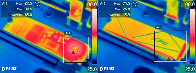 Teplota disku s chladičem a bez