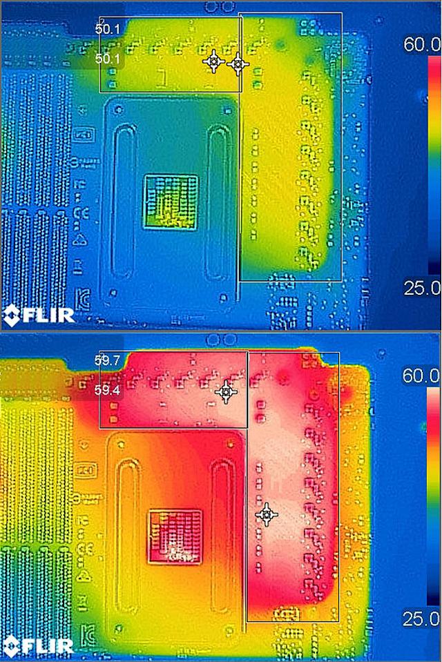 Teplota napájecí kaskády před a po OC