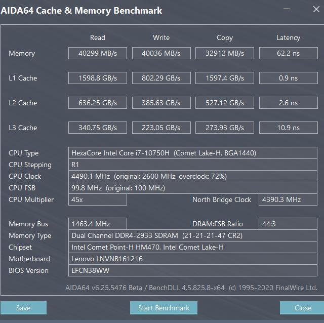 Výkon Lenovo s Core i7-10750H