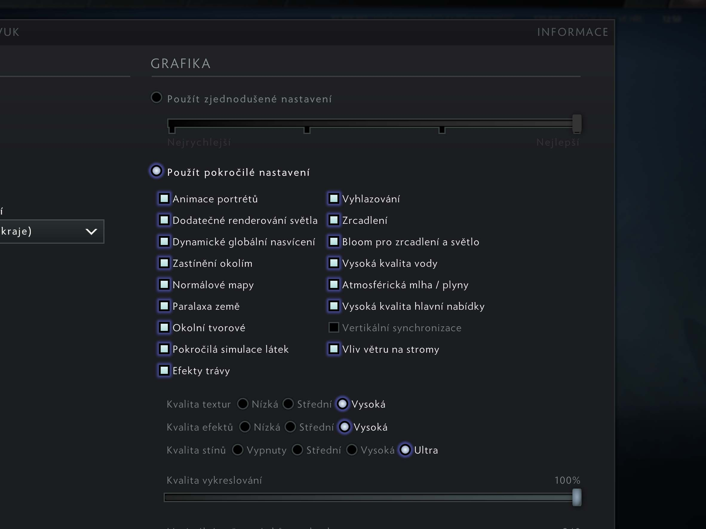 DOTA 2 nastavení detailů