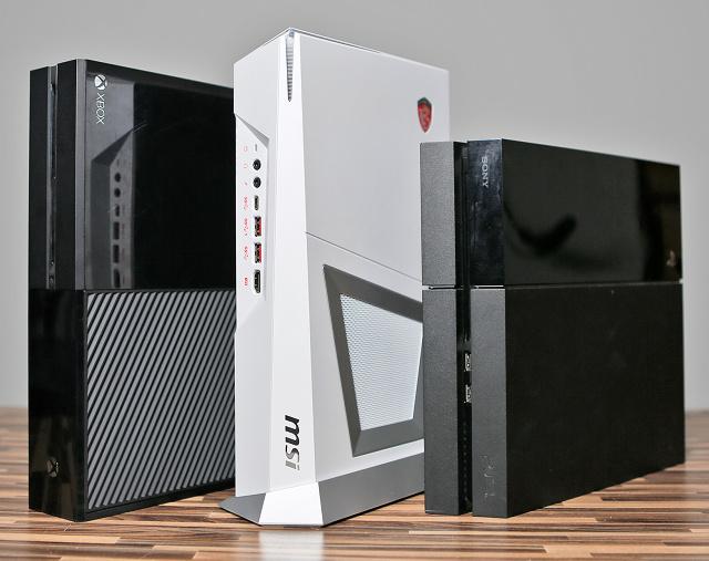 Velikost počítače Trident (zde v bílé barvě) je podobná PS4 i Xboxu