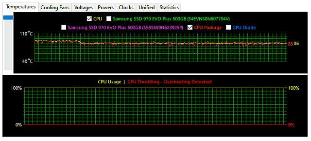 Notebook v plné CPU zátěži