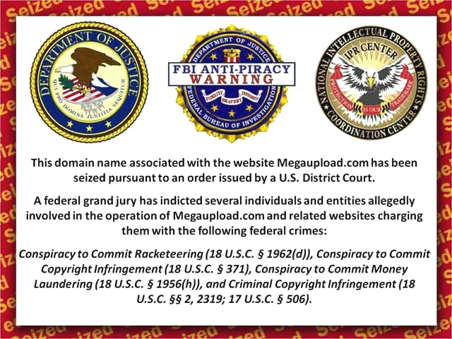 """MegaUpload FBI-Banner"" by FBI Anti-Piracy - http://usdoj.s3-website-us-east-1.amazonaws.com/banner.jpg + http://megaupload.com.s3-website-us-east-1.amazonaws.com/banner.jpg + http://usdoj.s3-external-1.amazonaws.com/banner.jpg + http://www.megaupload.com/banner.jpg. Licensed under Public Domain via Wikimedia Commons."