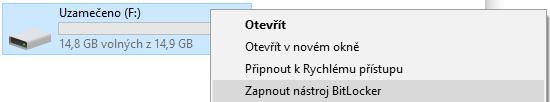Zapnutí BitLockeru na USB disku