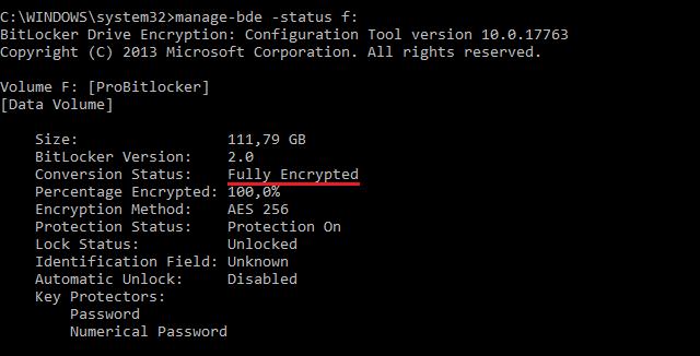 Výpis stavu připojeného disku manage-bde