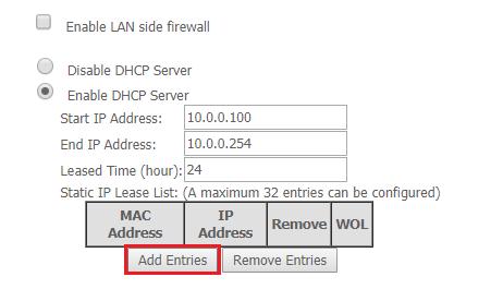 Rezervace IP adresy pro určitou MAC.