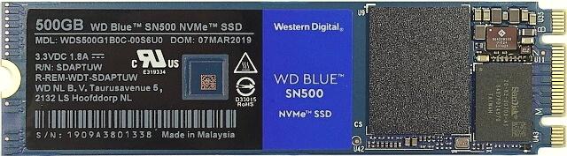 Disk WD Blue SN500 zepředu