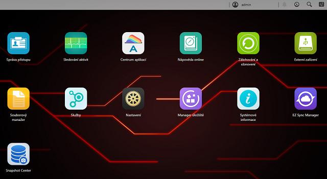 Ovládací menu zařízení