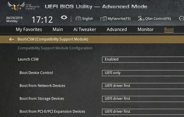 Vynucení startu z UEFI