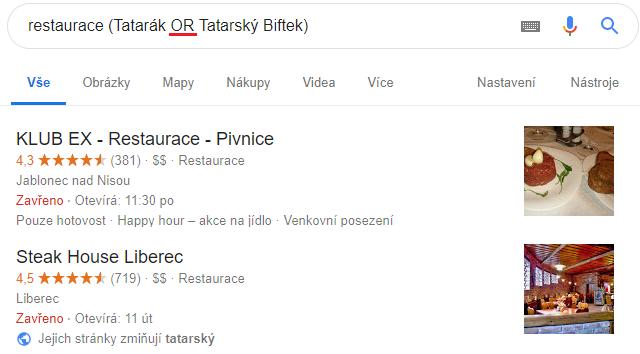 Bez !Praha mi Google nabídne podniky v mém okolí