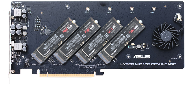 Asus Hyper M.2 Gen 4 se čtyřmi disky Samsung 980 Pro