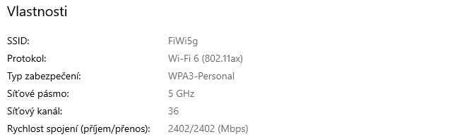5 GHz Wi-Fi 6 se šířkou kanálu 160 MHz