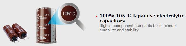 Japonské kondenzátory stavěné na 105 °C.