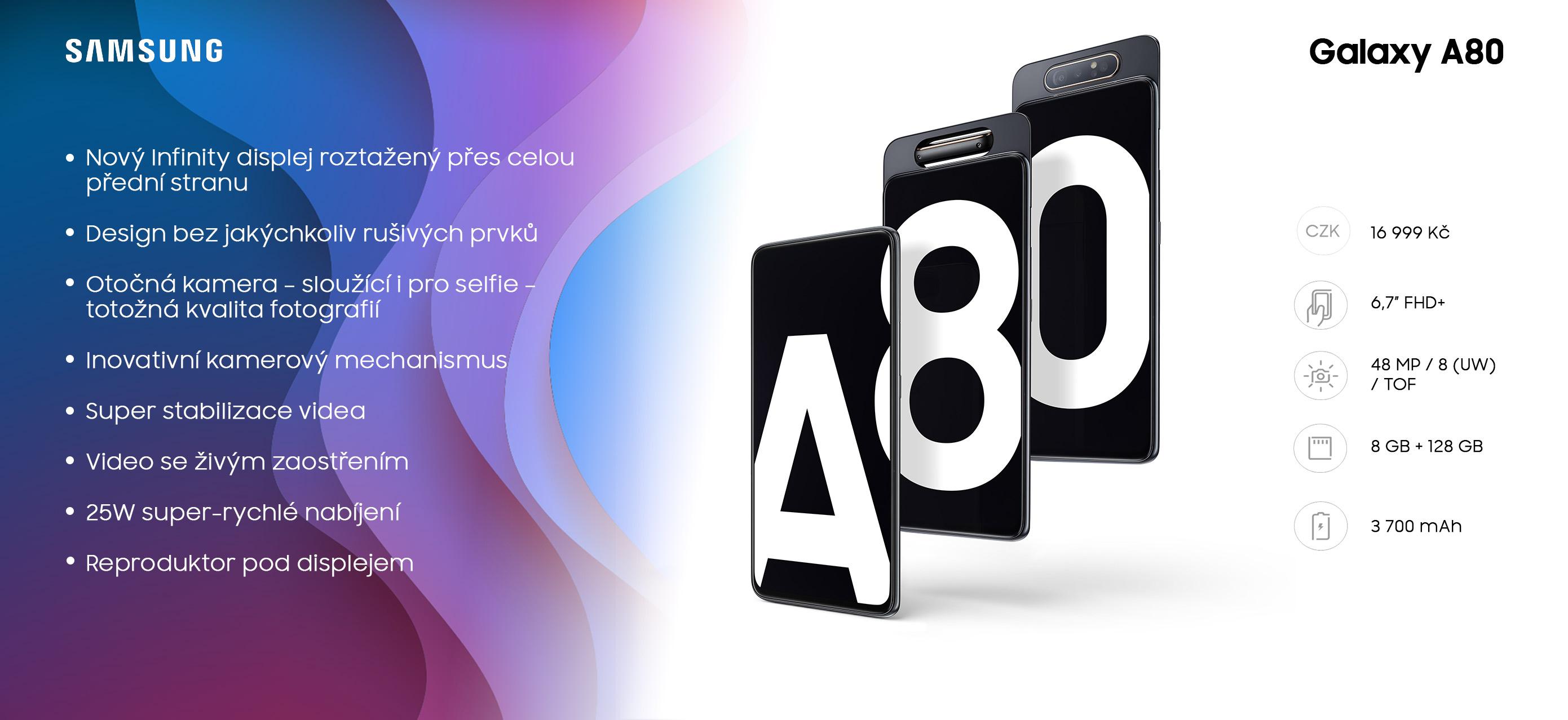 Samsung Galaxy A80 má otočný fotoaparát a displej bez otvorů