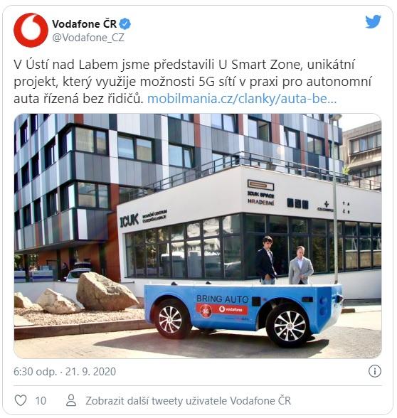 Ústí nad Labem zahájí testovací provoz autonomního řízení vozidel na 5G síti Vodafonu