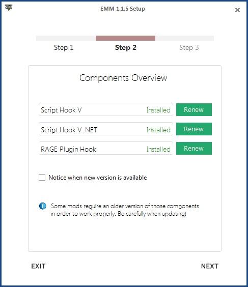 Easy Mod Manager detekuje, zda jsou skriptovací doplňky instalovány.