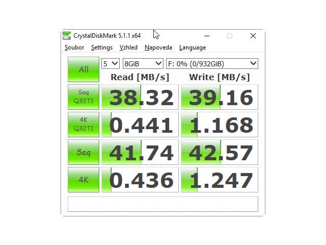 CrystalDiskMark 5.1.1 USB 2.0 test