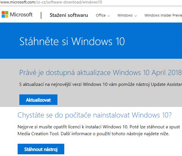 Stažení nástroje pro vytvoření instalačního ISO obrazu Windows