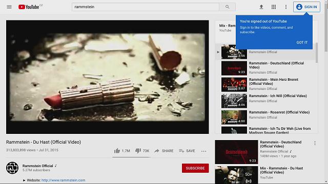 Sledování videí na Youtube