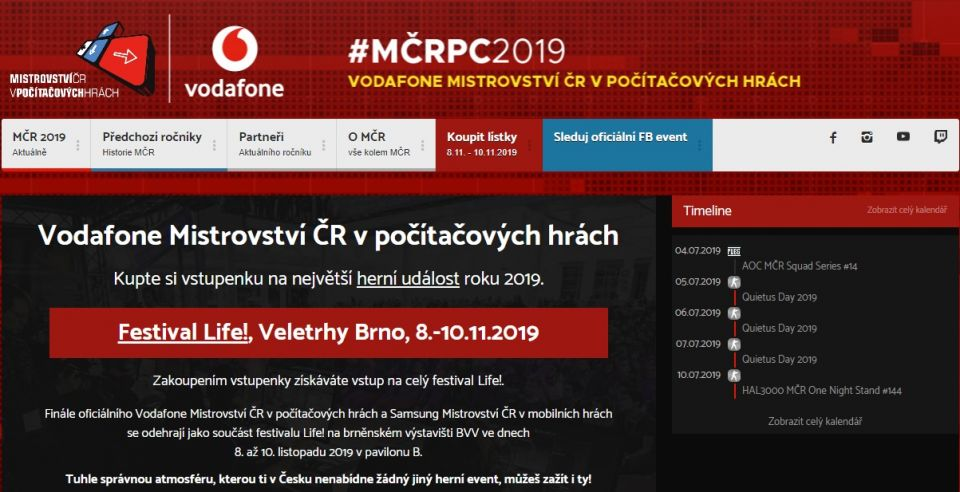 Vstupenky na Vodafone MČR v počítačových hrách jsou venku