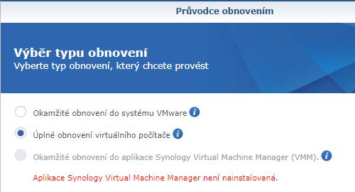 Způsob obnovy virtuálního počítače