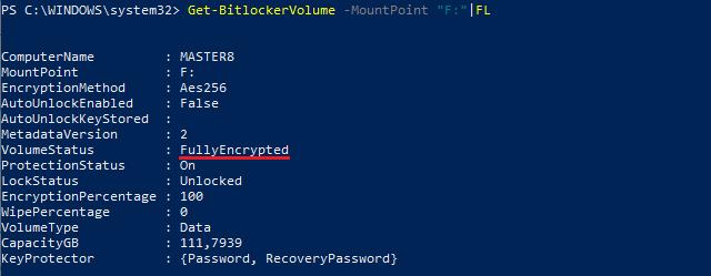 Výpis stavu připojeného disku Get-BitLockerVolume