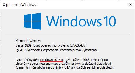 Verze Windows - pište winver.exe