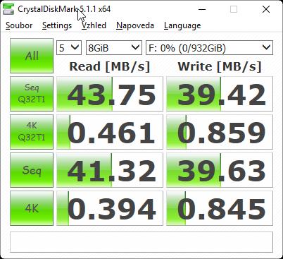 CrystalDiskMark 5.1.1 test USB 2.0