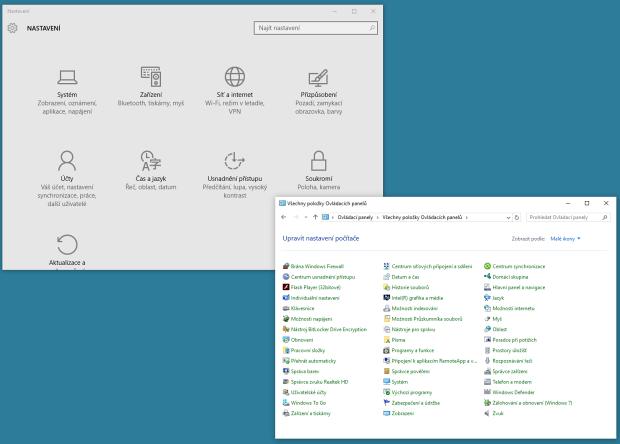 Dva různé styly Ovládacích panelů ve Windows 10