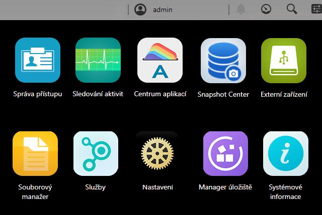 Ovládací menu - zvětšené ikony