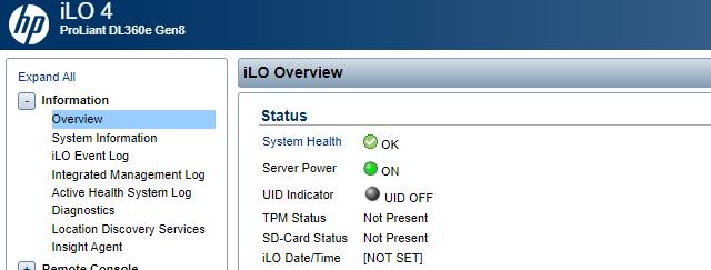 Přehled informací o serveru