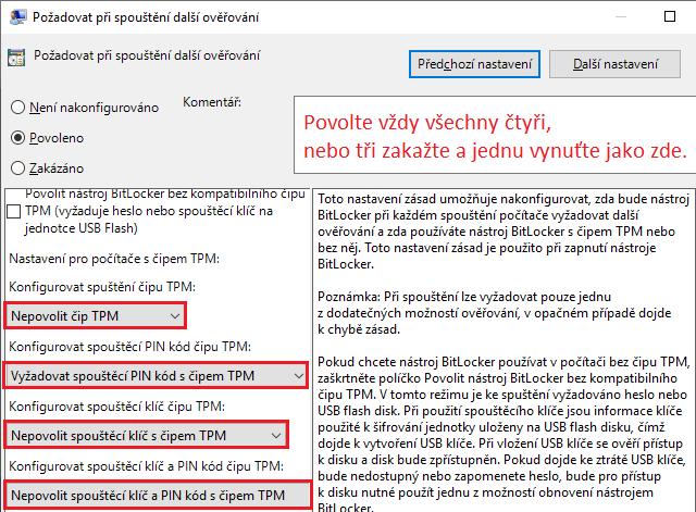 Vynucení použití TPM a zadání i PIN