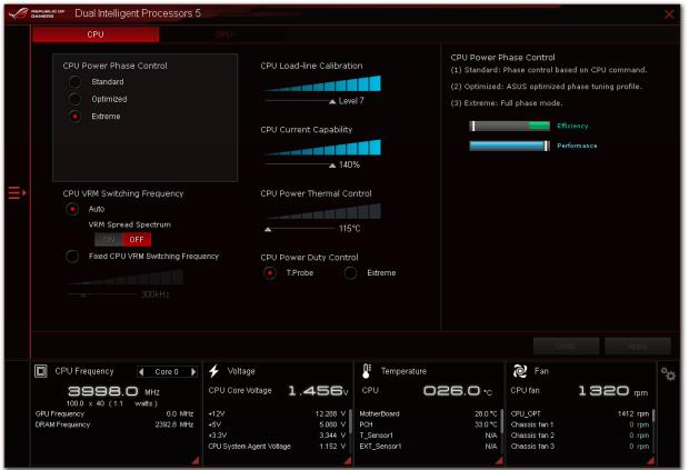 Nastavení napájecí kaskády je v menu Dual Intelligent Processor