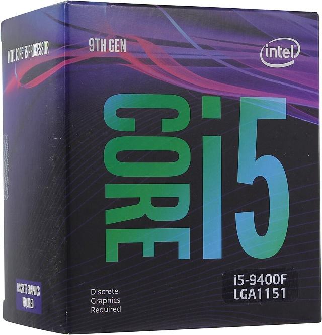 Barevná krabička procesoru Core i5-9400F s chladičem uvnitř